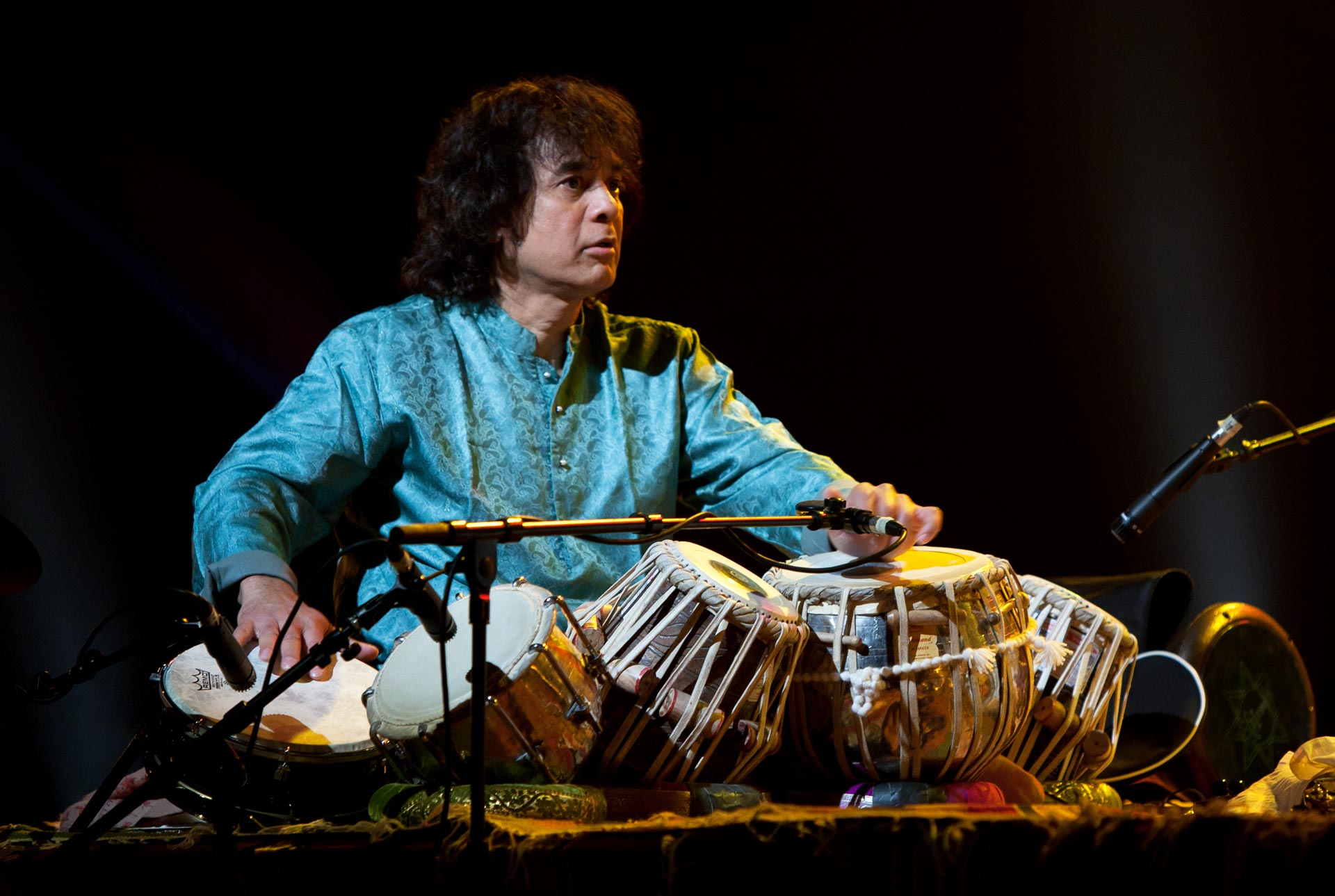 Zakir Hussain, performing in 2012.