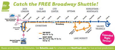 Oakland's Free B Shuttle bus will be running on New Year's Eve every 10-15 minutes from 7 p.m. to 1 a.m.