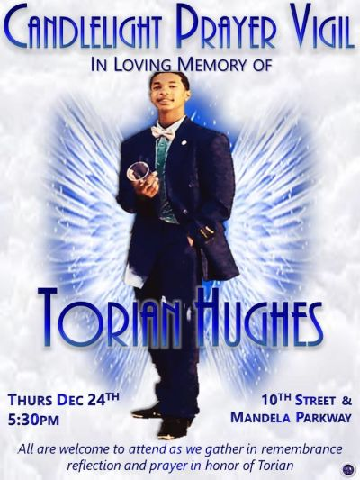 Torian Hughes memorial notice posted by Oakland City Council President Lynette Gibson McElhaney.