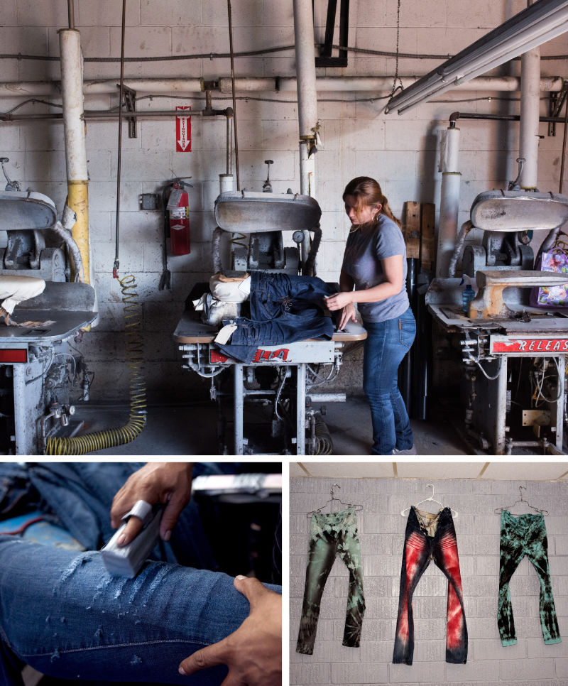 """(Top) A worker at Blue Creations prepares a pair of blue jeans for a crinkle effect known as """"3-D whiskers."""" (Bottom) Employees at Blue Creations apply the destruction/distressing process to jeans by sanding, ripping and tearing them on molds."""