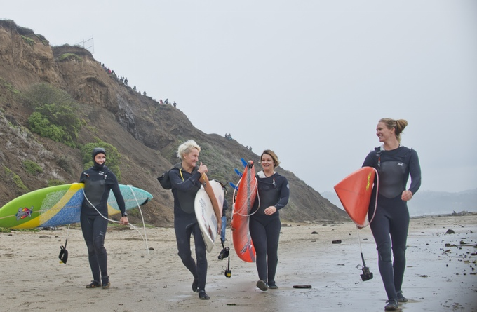 Andrea Moller, Keala Kennelly, Bianca Valenti and Paige Alms prepare to surf at Mavericks.
