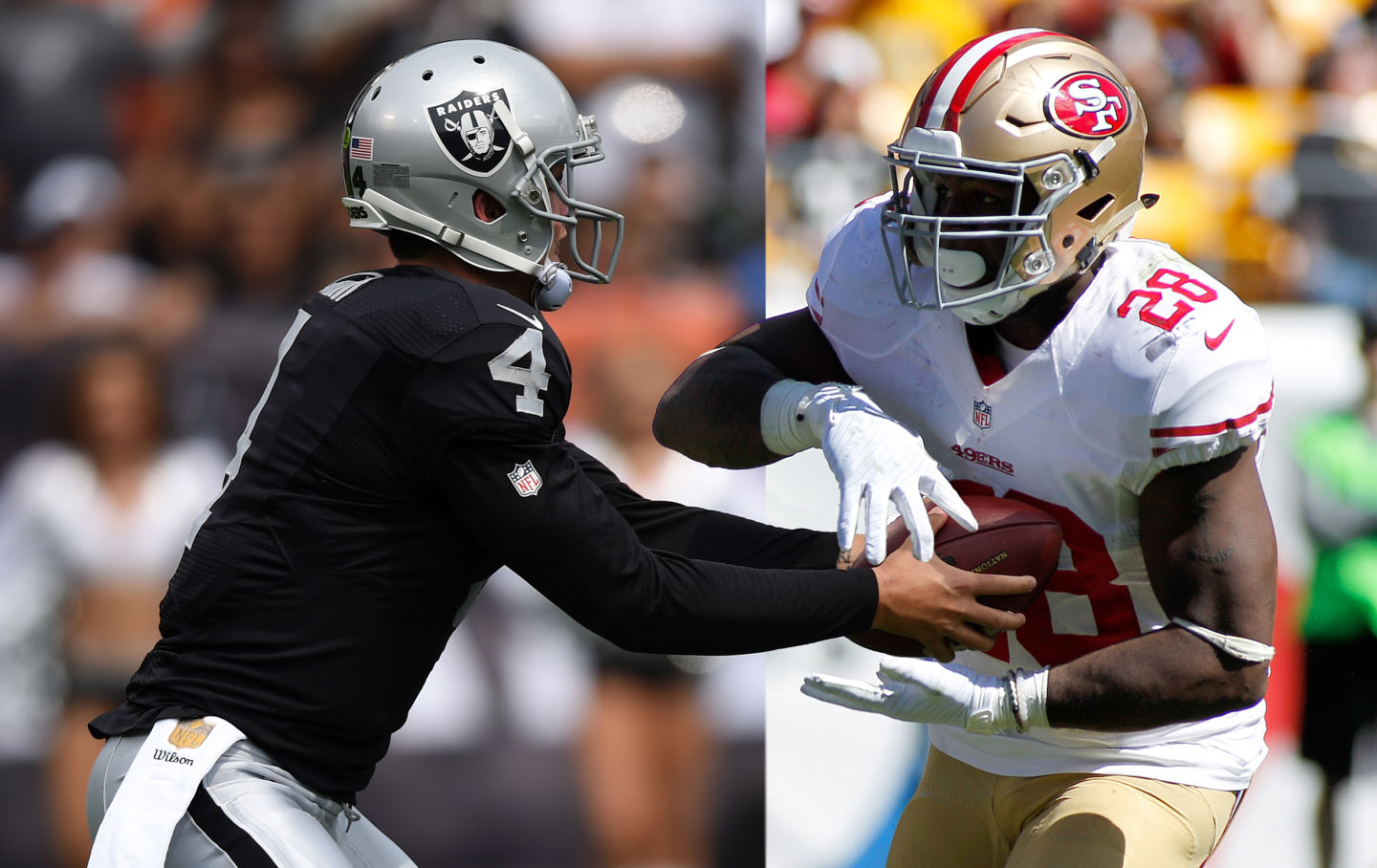 The 49ers struggled through a rough year while the Raiders look to be on the way back. (Getty Images, composite by Adam Grossberg)