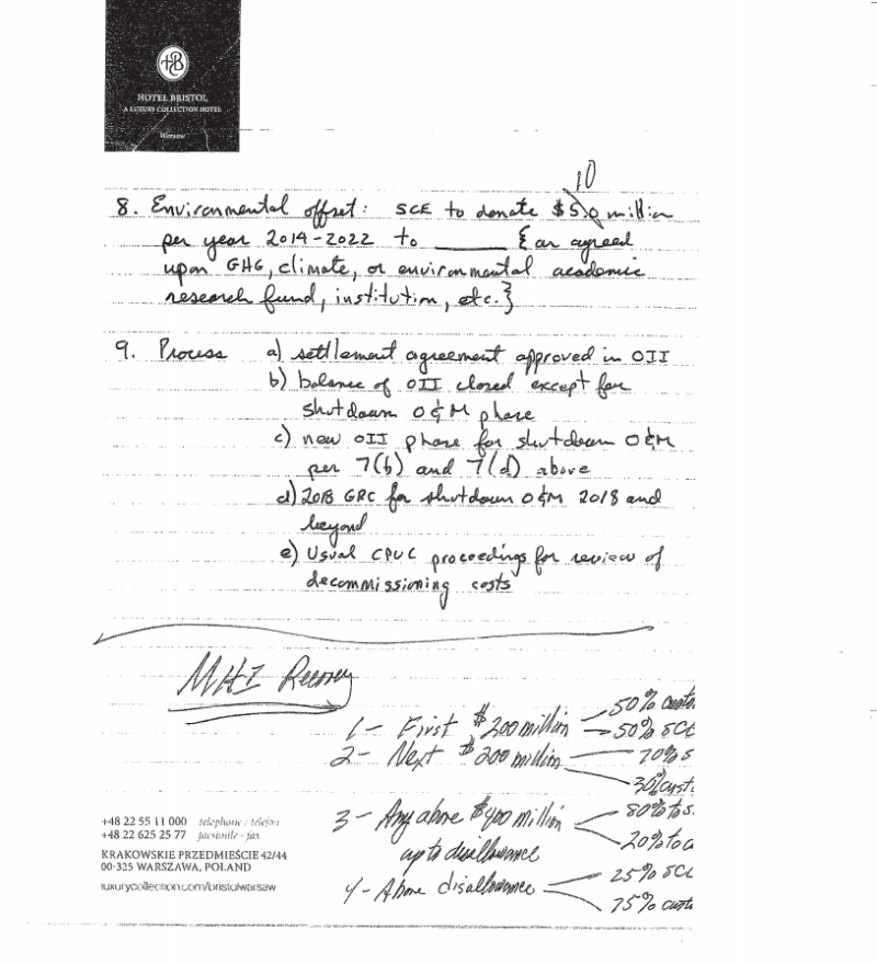 Notes about the San Onofre shutdown settlement found in Peevey's home.