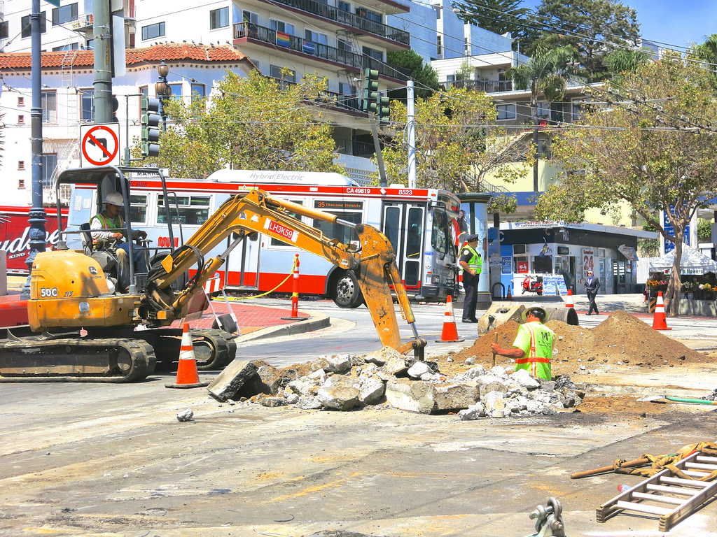 Crews work on the Castro streetscape project in 2014. City officials say lessons learned during this project will inform future efforts to help merchants deal with disruptions during street construction.