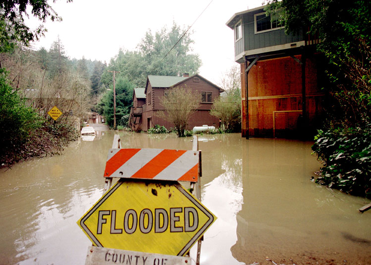 Flooding in Clearlake, California during the 1998 El Nino.