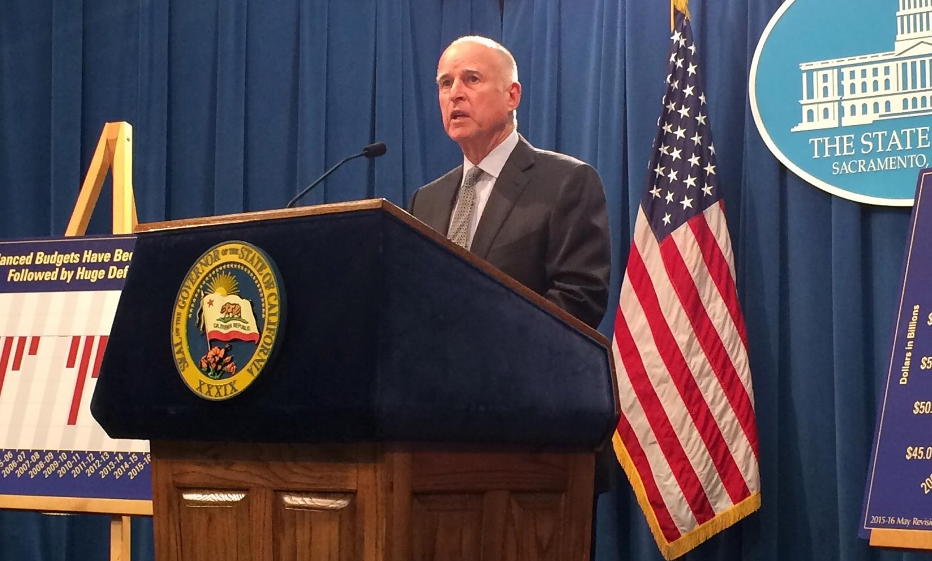 Gov. Jerry Brown releases his revised state budget on May 14, 2015 in Sacramento.