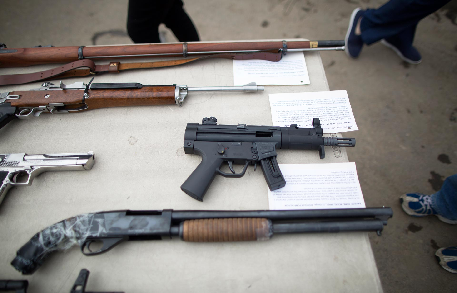 Confiscated guns are displayed prior to the destruction of approximately 3,400 guns and other weapons at the Los Angeles County Sheriffs' 22nd annual gun melt on July 6, 2015.