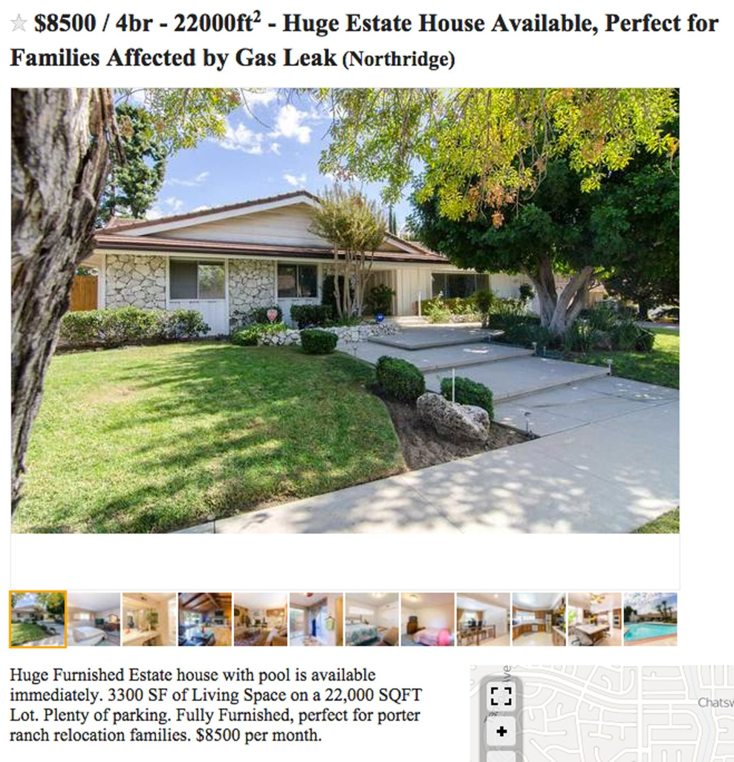 "A screenshot of a Craigslist post advertising a home ""perfect for families affected by gas leak."""