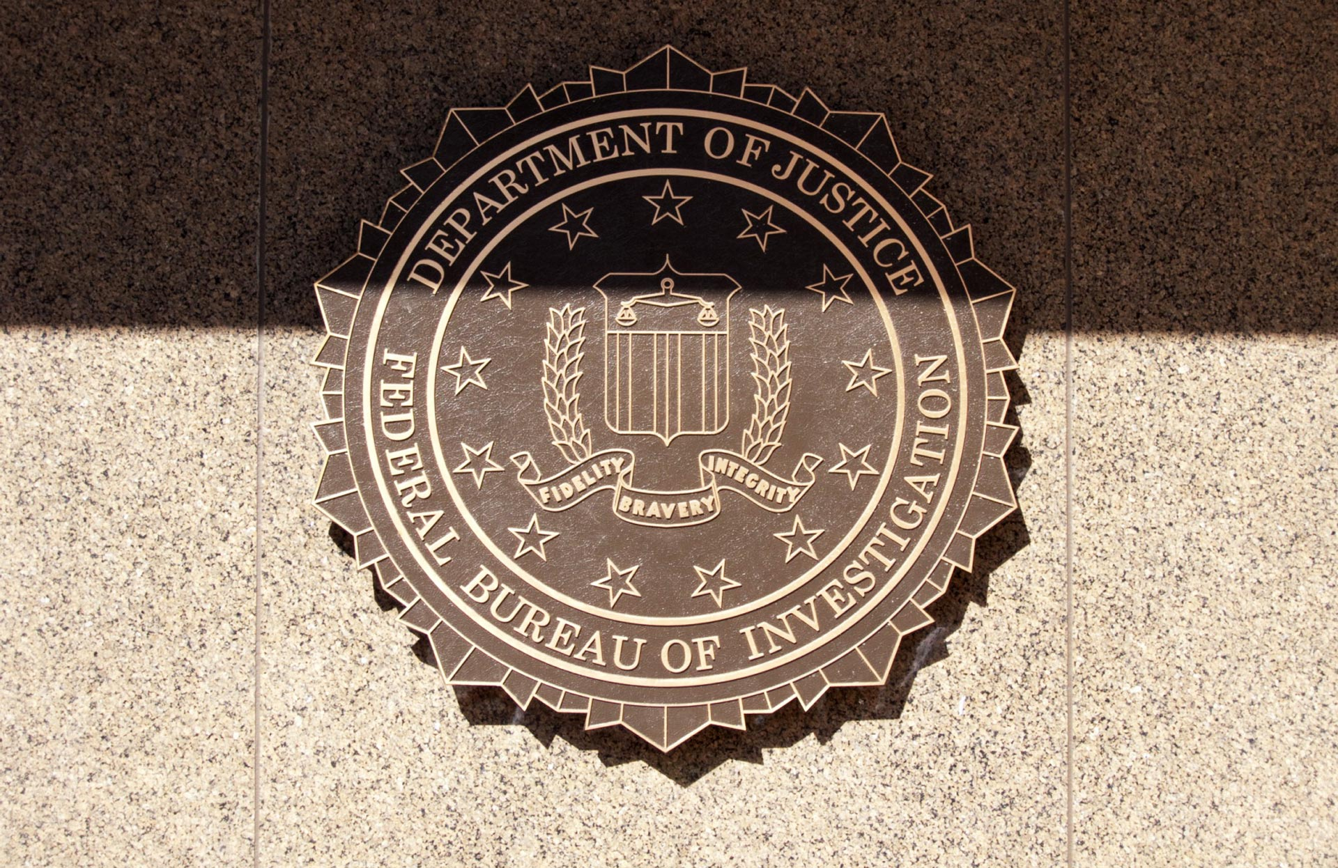 The F.B.I. emblem on the J. Edgar Hoover F.B.I. Building.