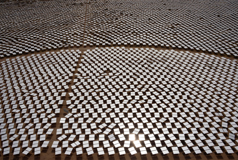 Heliostats - in essence, rotating mirrors - at the Ivanpah solar power plant, in California's Mojave Desert south of Las Vegas.