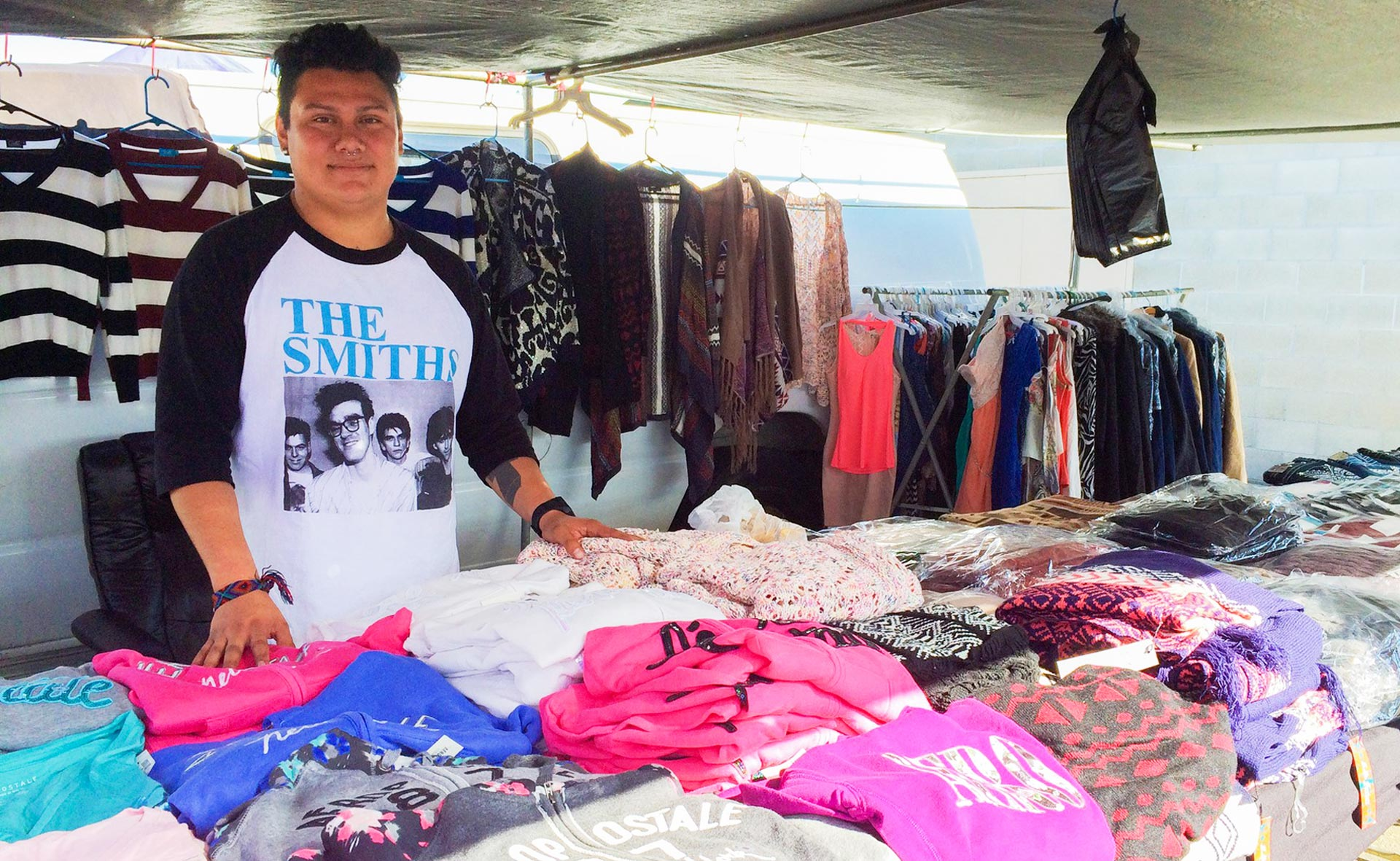 Giovanni Martinez, 27, has been selling clothes at the Cherry Auction for eight years.