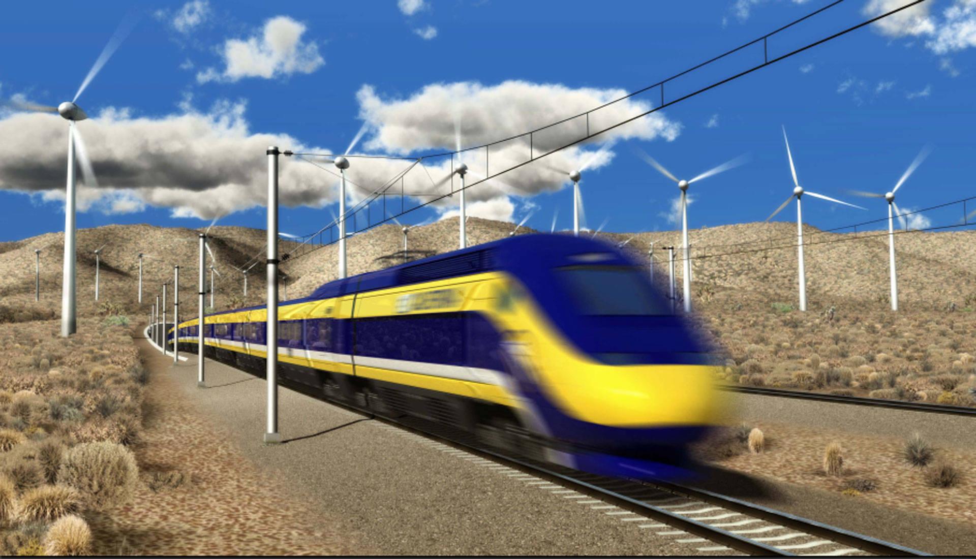 Rendering of high-speed rail train.