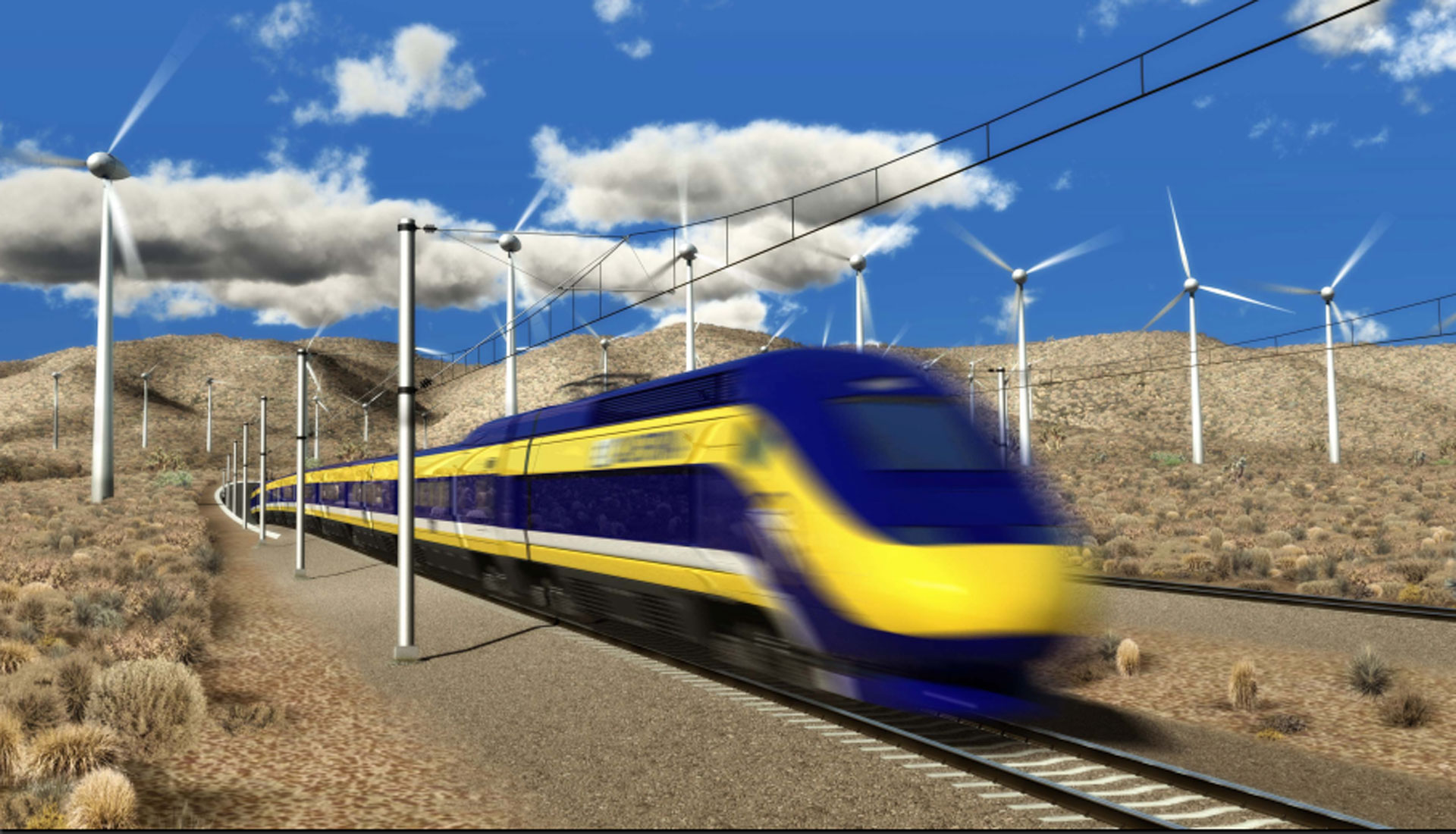 Rendering of high-speed rail train.