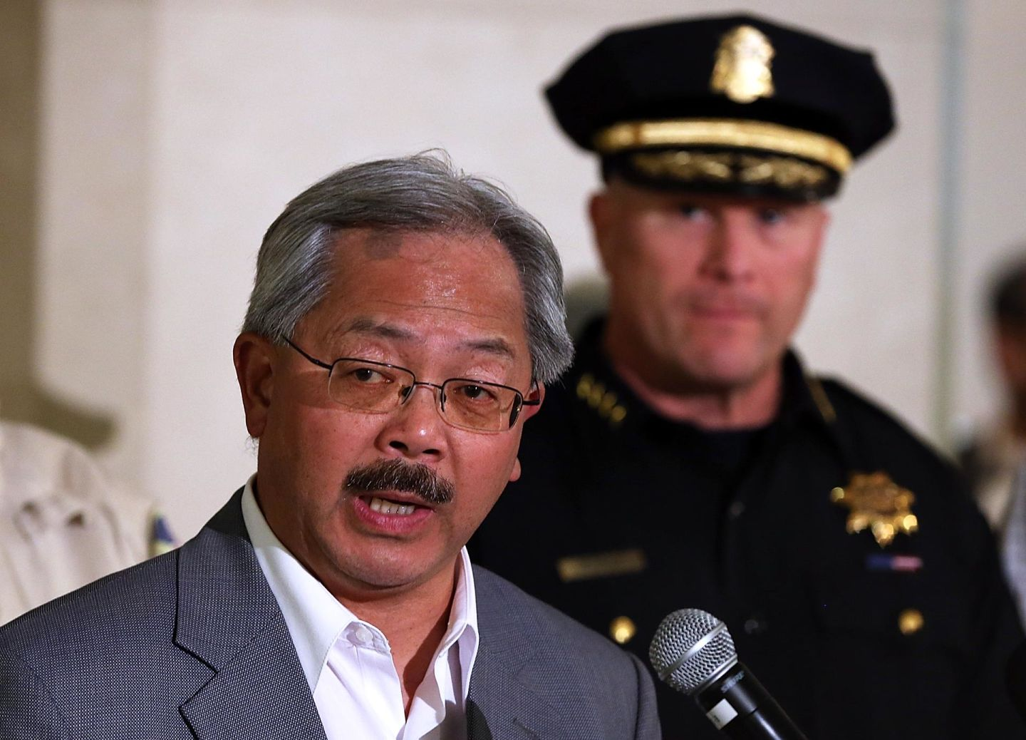 San Francisco Mayor Ed Lee and SFPD Chief Greg Suhr at a 2013 press conference.
