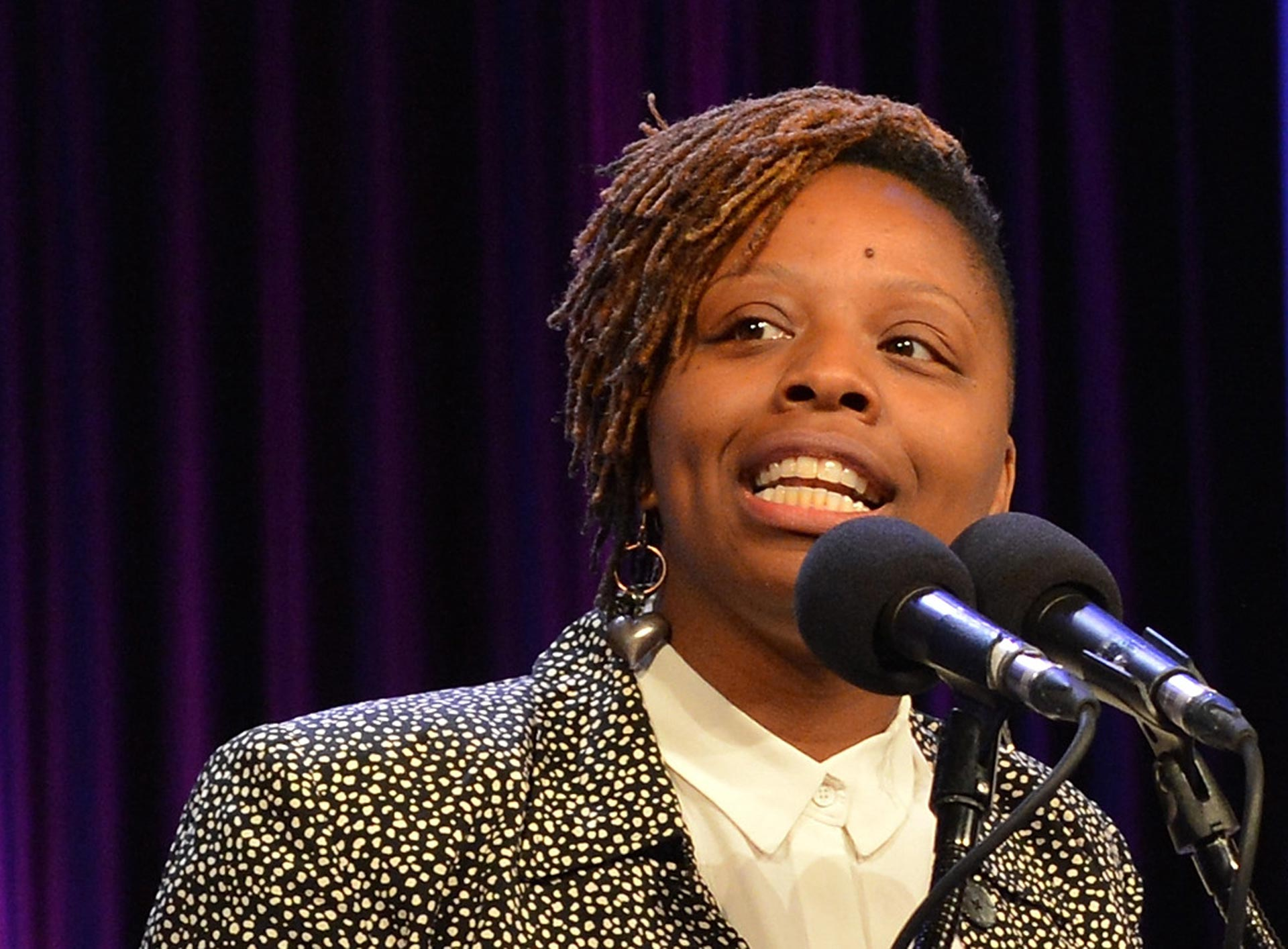 Patrisse Cullors speaks at The New York Women's Foundation last year.