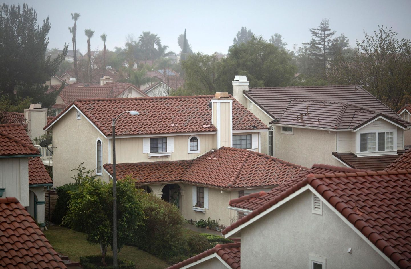 Many people in this Porter Ranch neighborhood have left their homes due to the massive, ongoing natural gas leak at SoCalGas' nearby Aliso Canyon facility. DAVID MCNEW/AFP/Getty Images