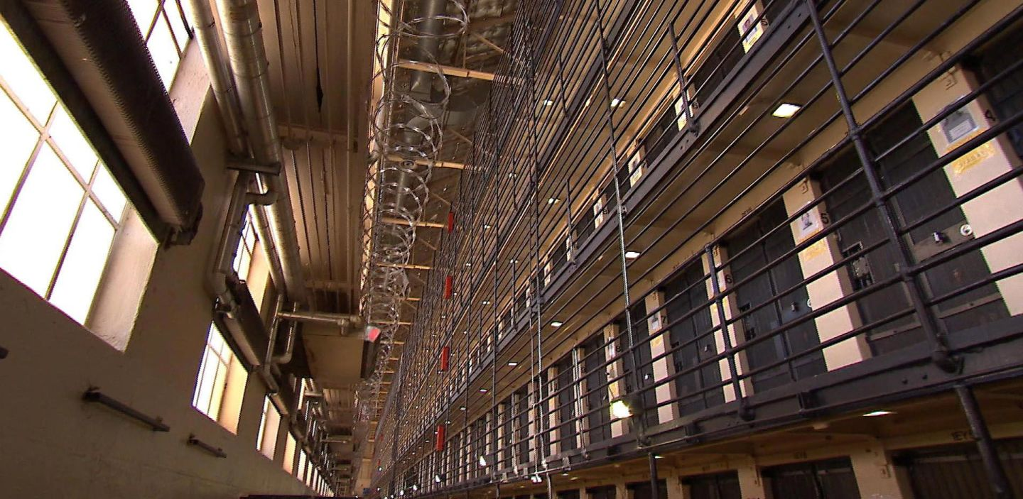The East Block with its 520 single-cells is by far the largest housing on death row. Inmates spend much of their time in a space that's about 6 feet by 9 feet, with no privacy and just a few amenities, including TV. Blake McHugh/KQED
