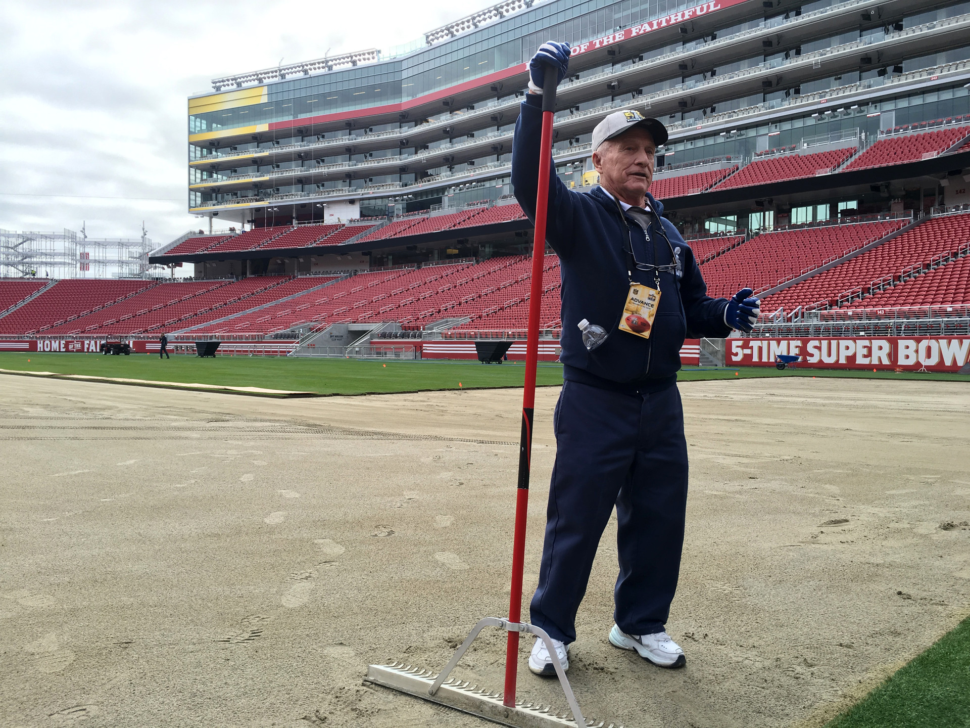 "NFL ""Sod God"" consultant George Toma says growing the Super Bowl turf on plastic is key before it's laid down."