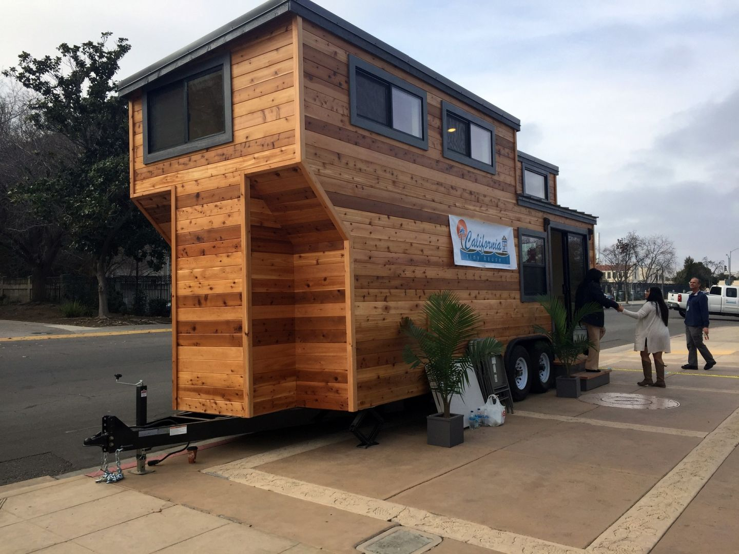 a tiny house parked in front of fresno city hall fresno recently updated its development code to legalize these kinds of homes on wheels as permanent - Tiny Houses California