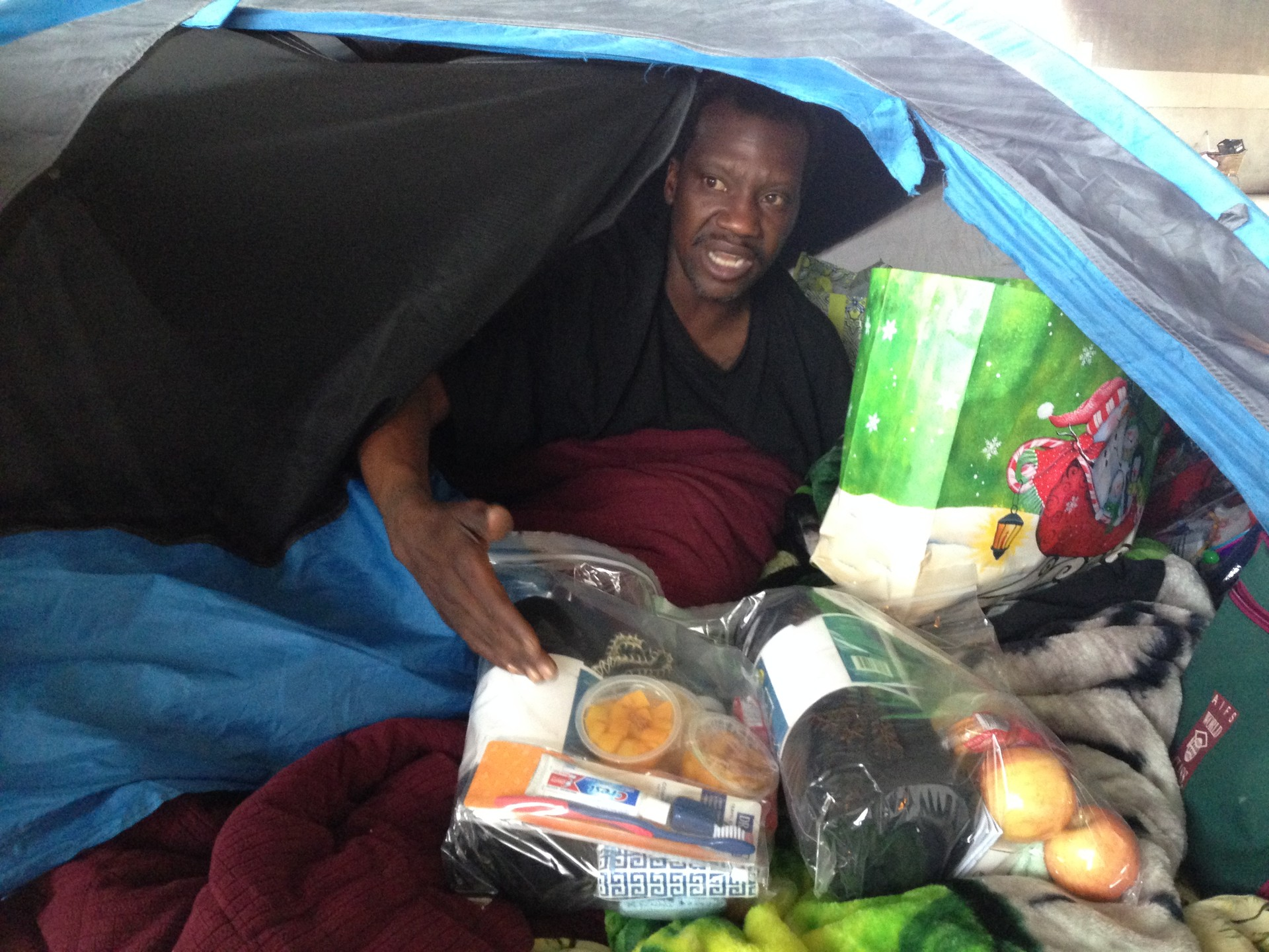 Terrance Dixon lives in an encampment at 35th and Peralta streets in Oakland.