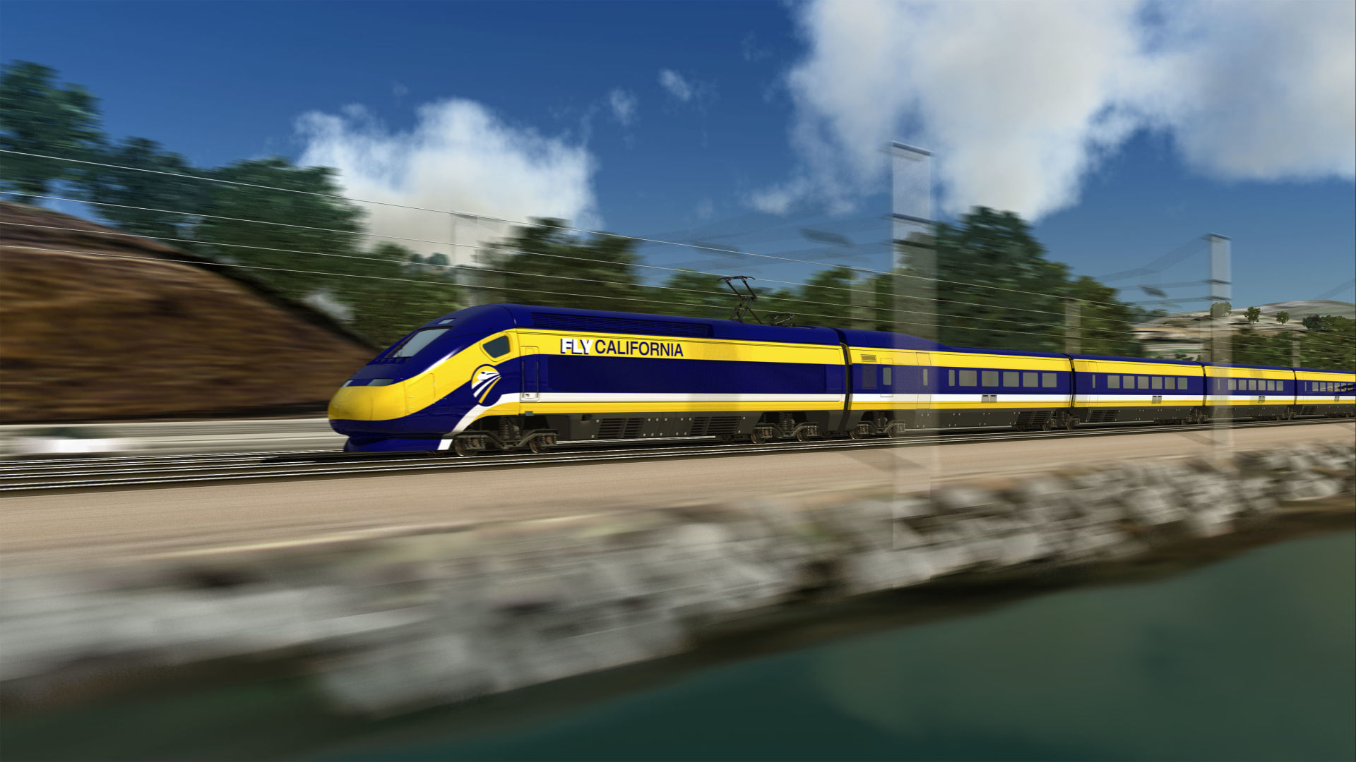 Rendering of High Speed Rail train.