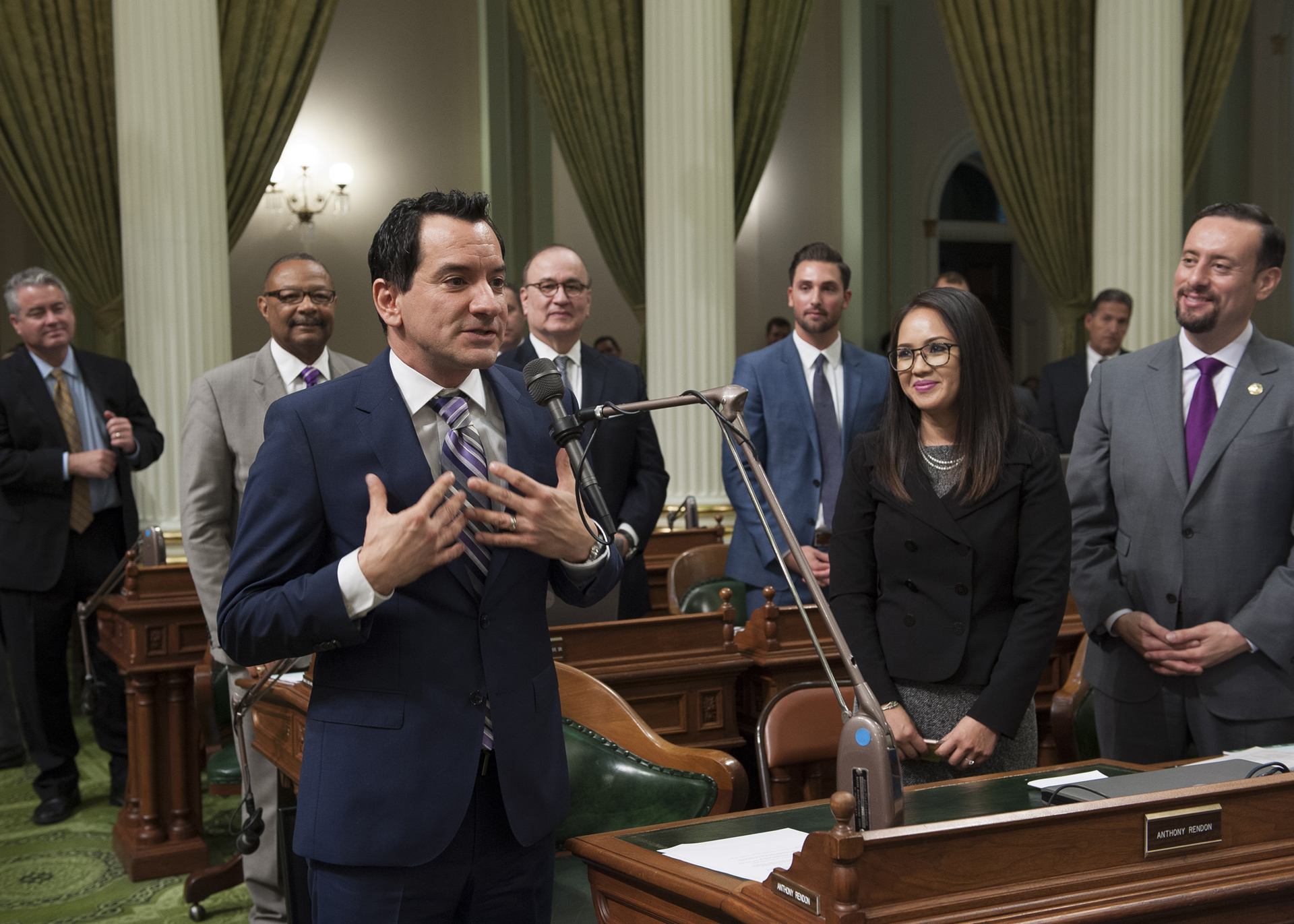 Assemblymember Anthony Rendon speaks on the Assembly floor after being elected speaker on Monday, January 11, 2016.