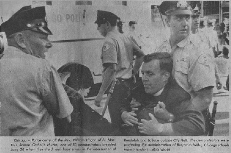 The Rev. Bill Hogan is arrested during a school desegregation protest in Chicago, circa 1965.