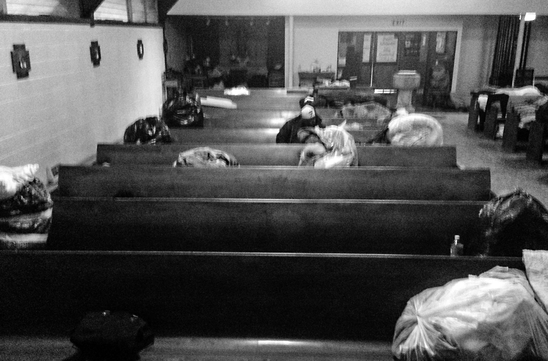 About 30 people sought shelter from wet winter storms last week inside the sanctuary at All Souls Episcopal Church in L.A.'s Highland Park neighborhood.