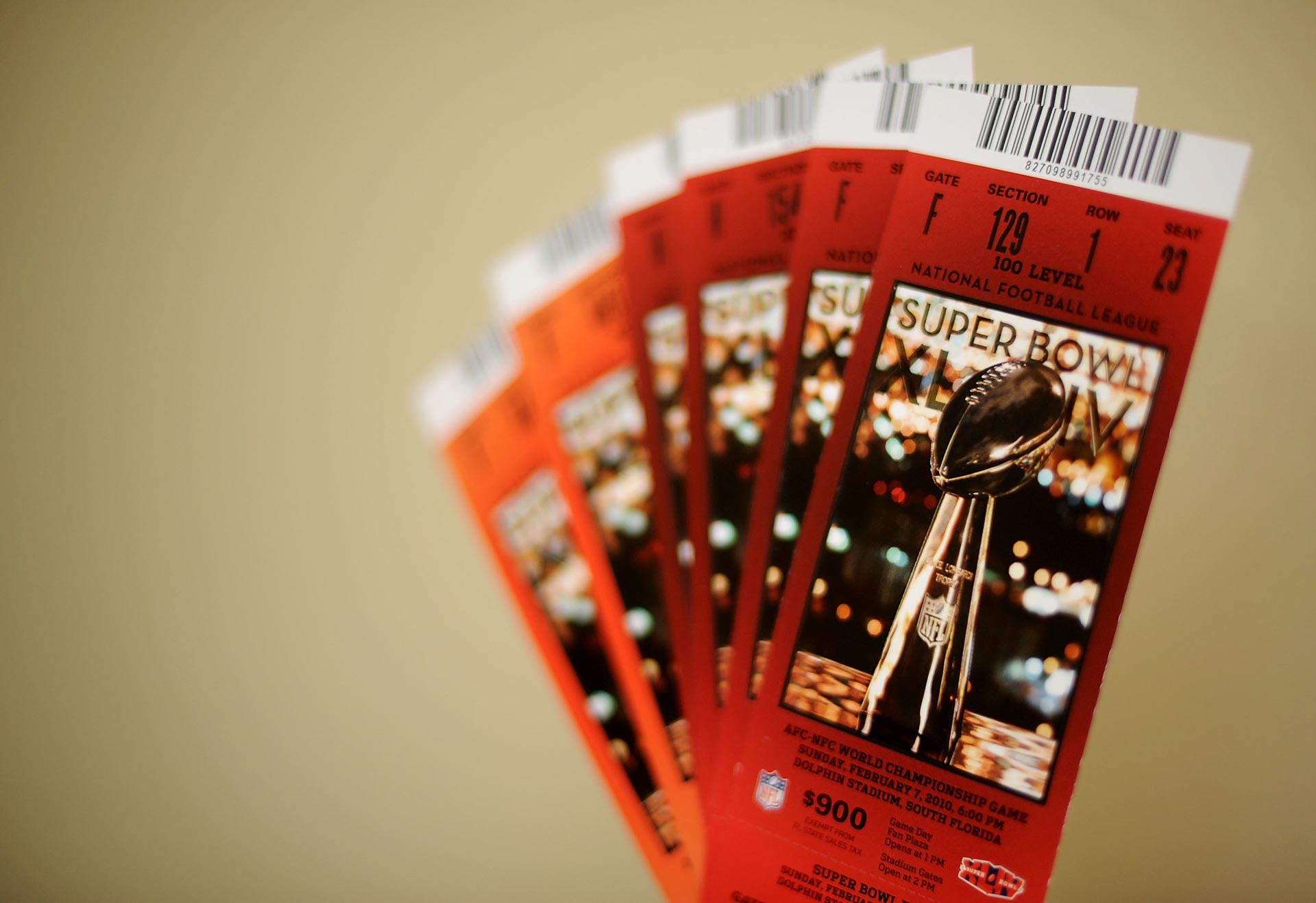 Unlike these tickets for Super Bowl XLIV, tickets for Super Bowl L feature holograms - but even those can be mimicked by counterfeiters.