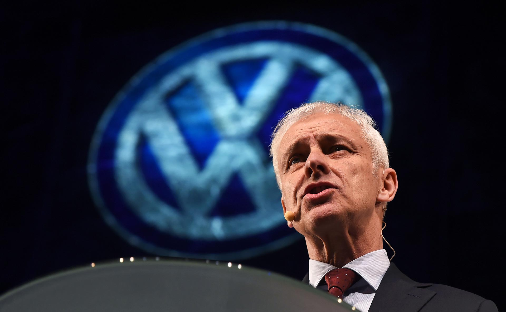 Volkswagen chief executive Matthias Mueller speaks before the official press preview of the 2016 North American International Auto Show in Detroit on January 10, 2016. Mueller apologized for cheating diesel car emissions tests on his first official U.S. visit since the scandal broke in September.