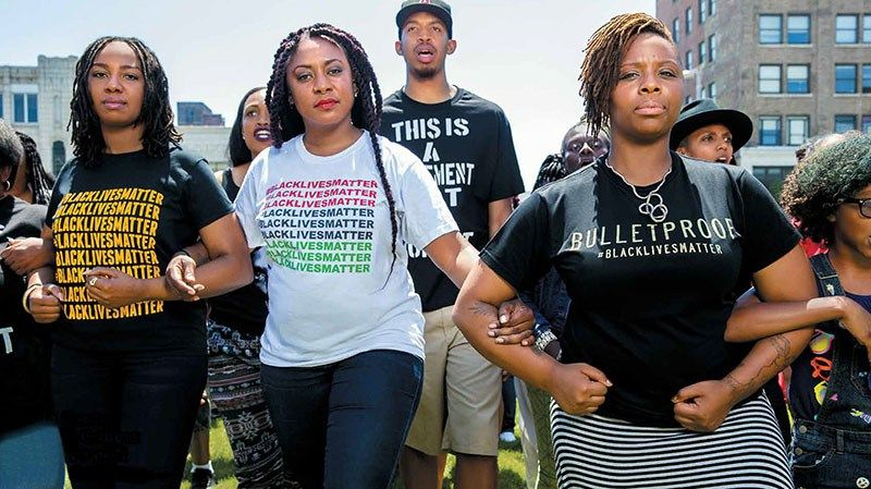 L to R: Opal Tometi, Alicia Garza, and Patrisse Cullors  co-founded #BlackLivesMatter.