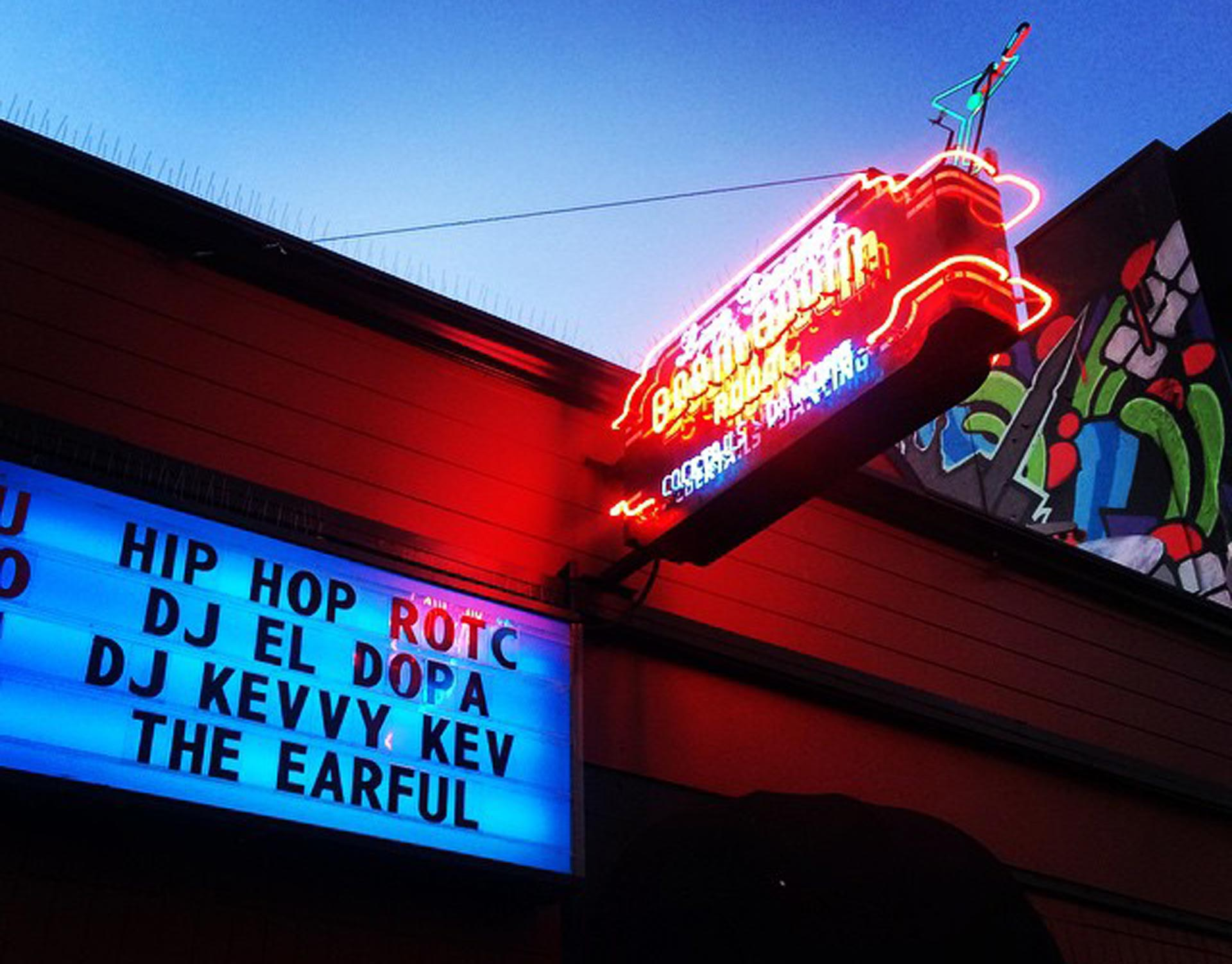 Return of the Cypher and DJ Kevvy Kev on the Marquee outside San Francisco's Boom Boom Room.