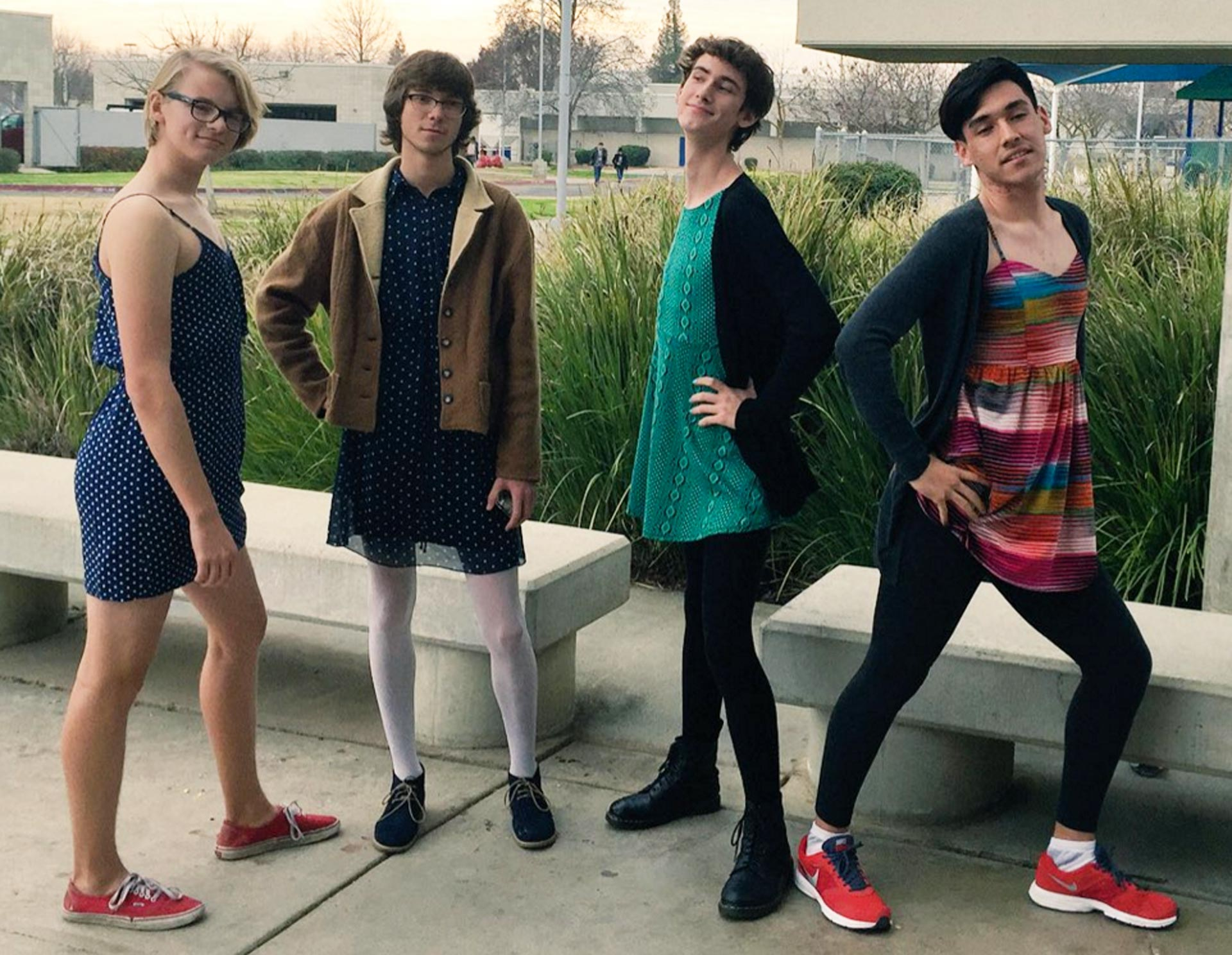 Boys wear dresses to Buchanan High School in protest of the Clovis Unified School District's decision not to update its decades-old dress code.