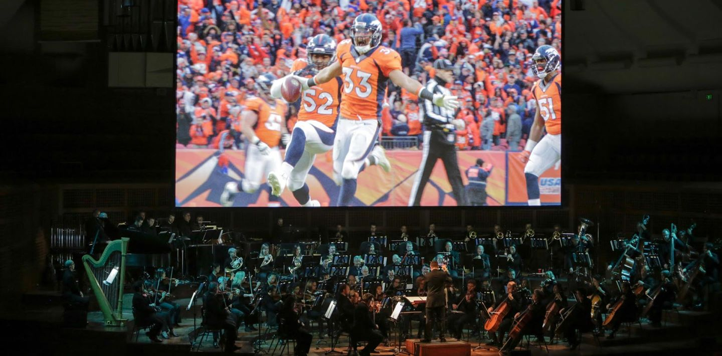 "For ""Super Bowl 50: Concert of Champions,"" the San Francisco Symphony played a night of football music, set to clips from football films. Photo: Amelia Kusar"