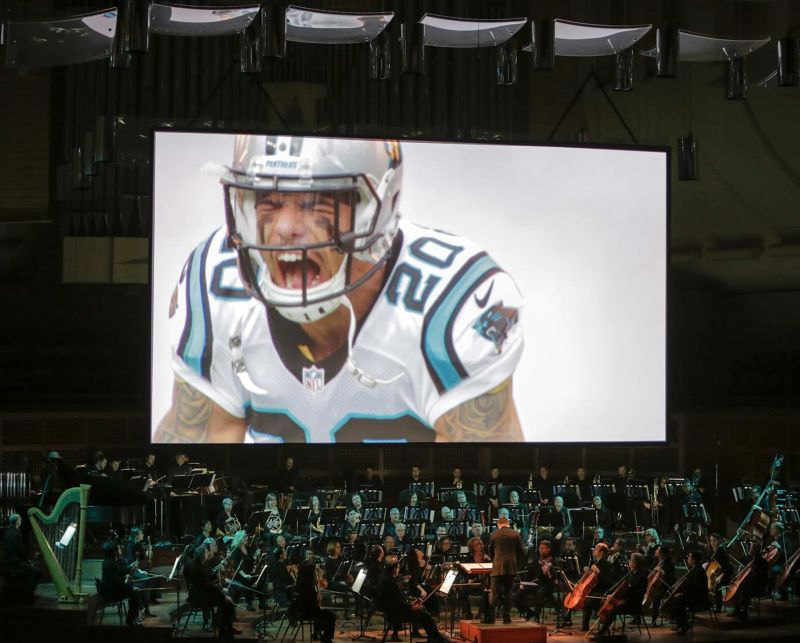 "For ""Super Bowl 50: Concert of Champions,"" the San Francisco Symphony played a night of football music, set to clips from football films."