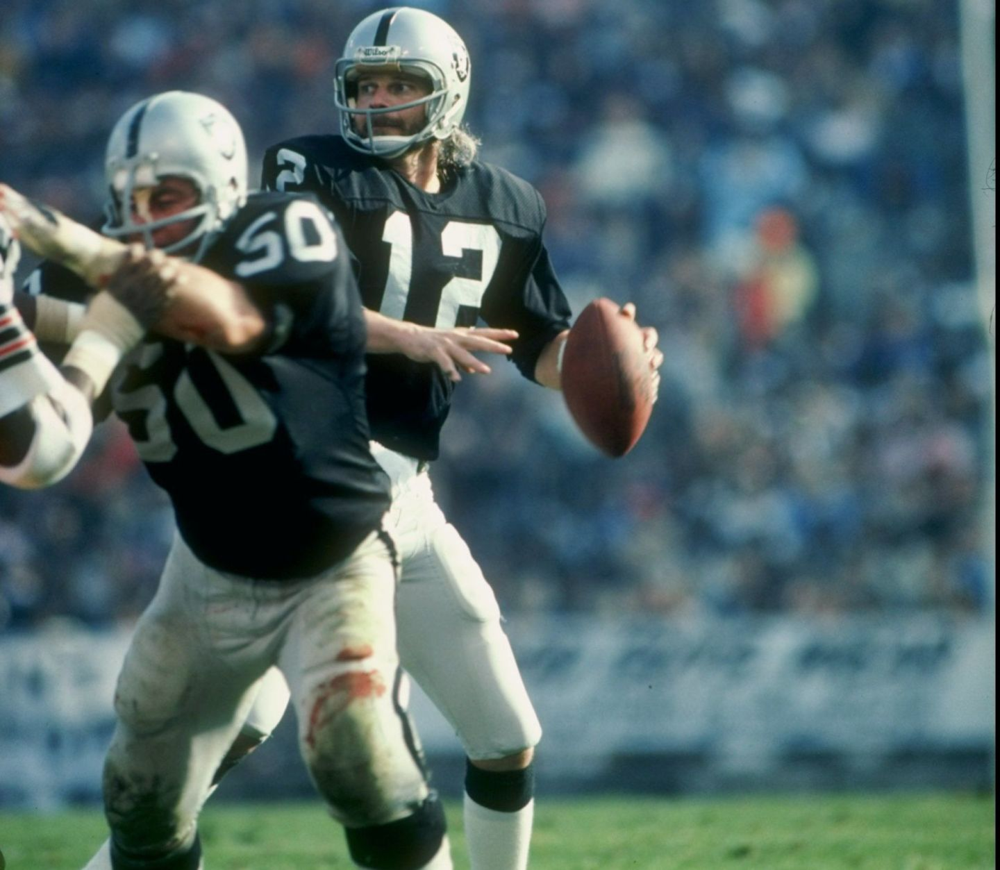 Oakland Raiders quarterback Ken Stabler in action against the Cleveland Browns in 1979.