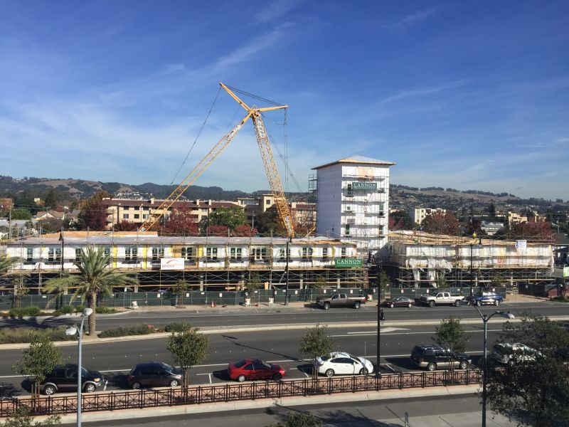 The Marea Alta affordable housing development in San Leandro is a modular construction, meaning the units are built off site and then assembled together with a large crane on site.