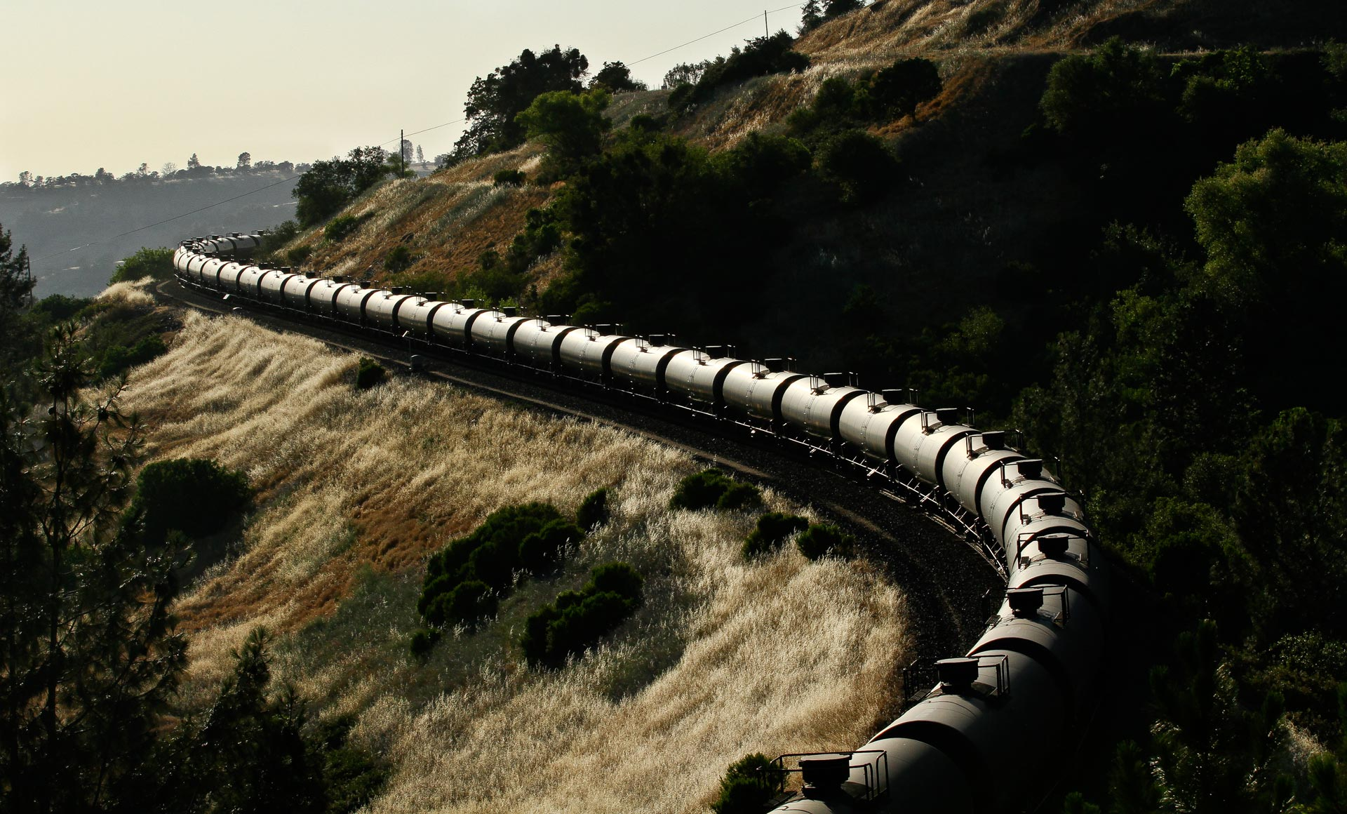 A train carrying crude oil operated by BNSF railway in California.