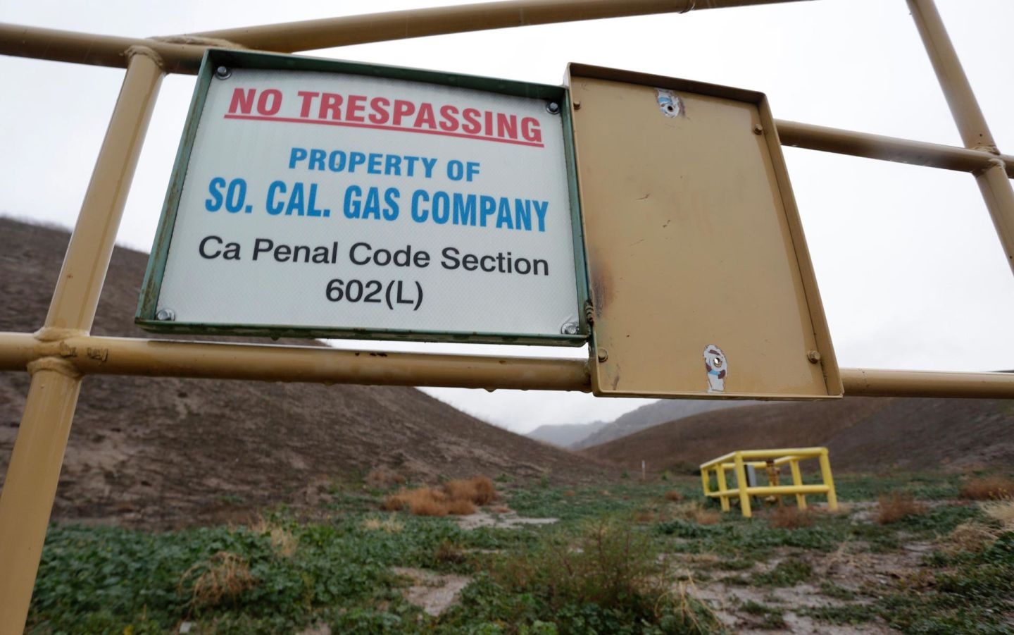 A sign marking the boundary of the Aliso Canyon storage facility is pictured in Porter Ranch, California, on Jan. 6, 2016.  Jonathan Alcorn/Getty Images