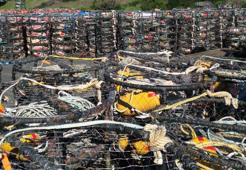 Unused crab fishing pots sit at Half Moon Bay harbor.