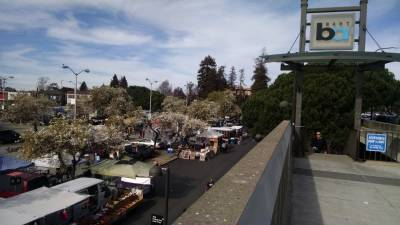 The flea market takes place every weekend in the Ashby BART station parking lot.