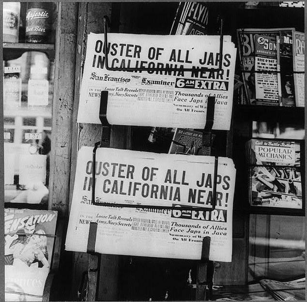 A newsstand in Oakland, California, in February, 1942.