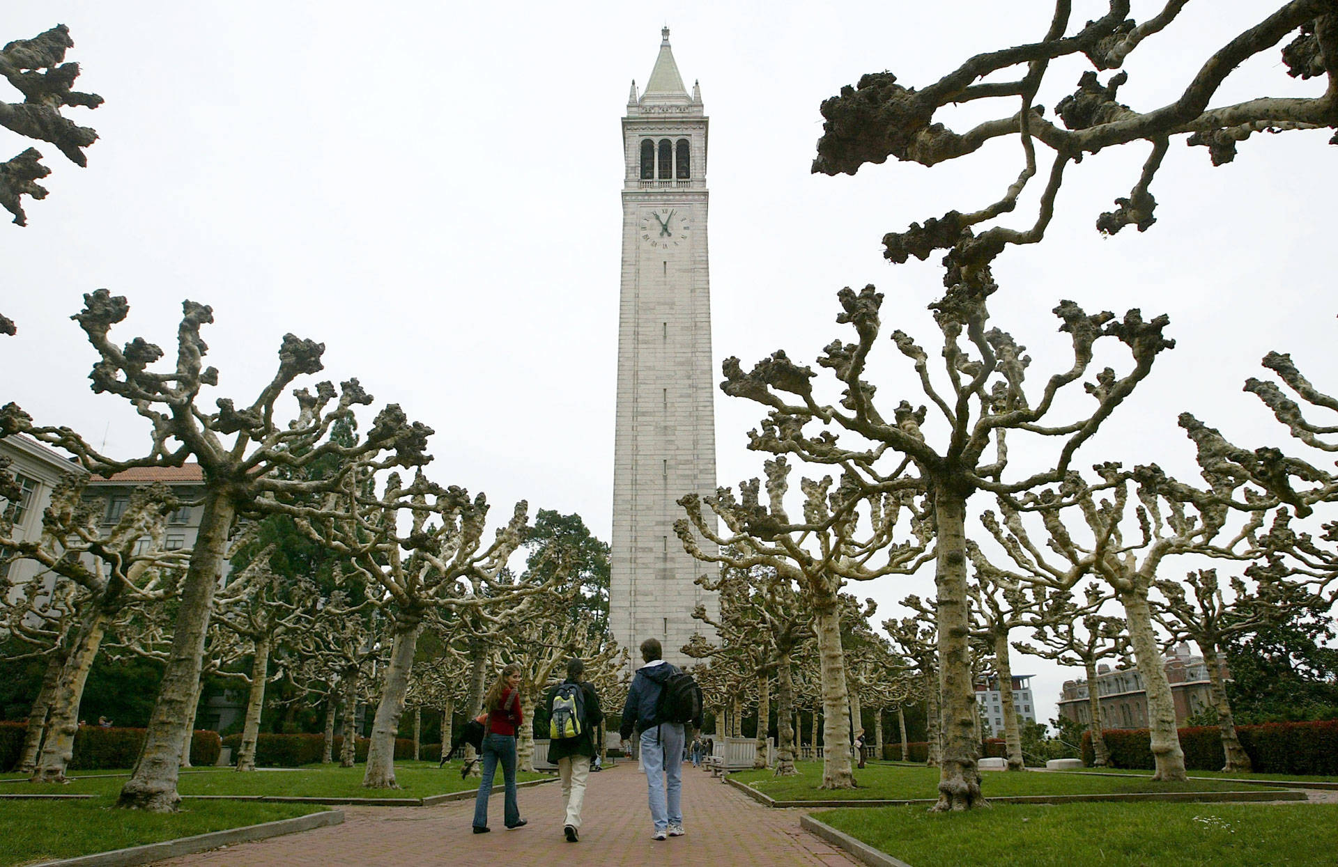 Students walk near Sather Tower on the UC Berkeley campus.  Justin Sullivan/Getty Images