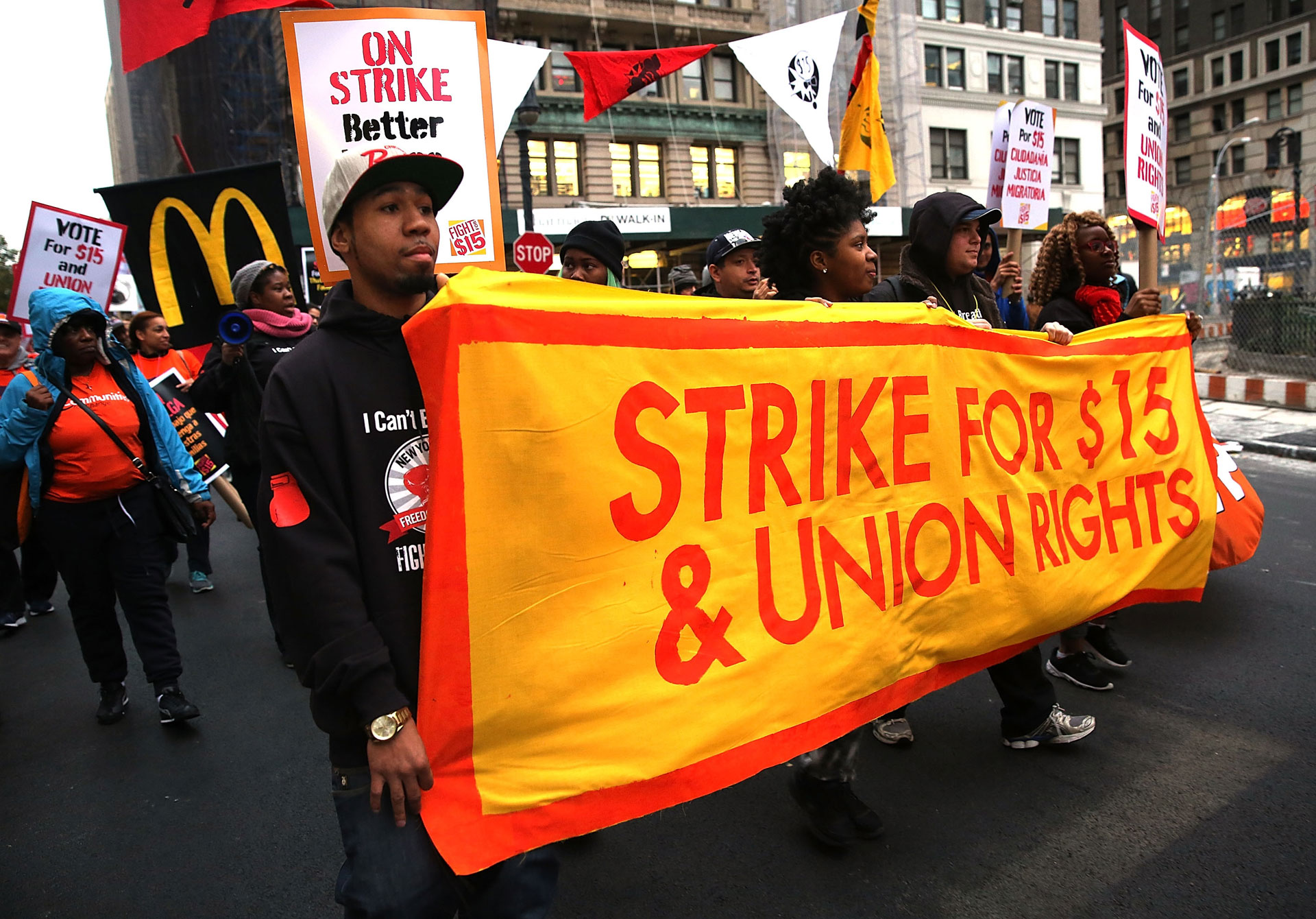 Low-wage workers and supporters protest for a $15 minimum wage last November in New York, as part of what organizers called a National Day of Action.