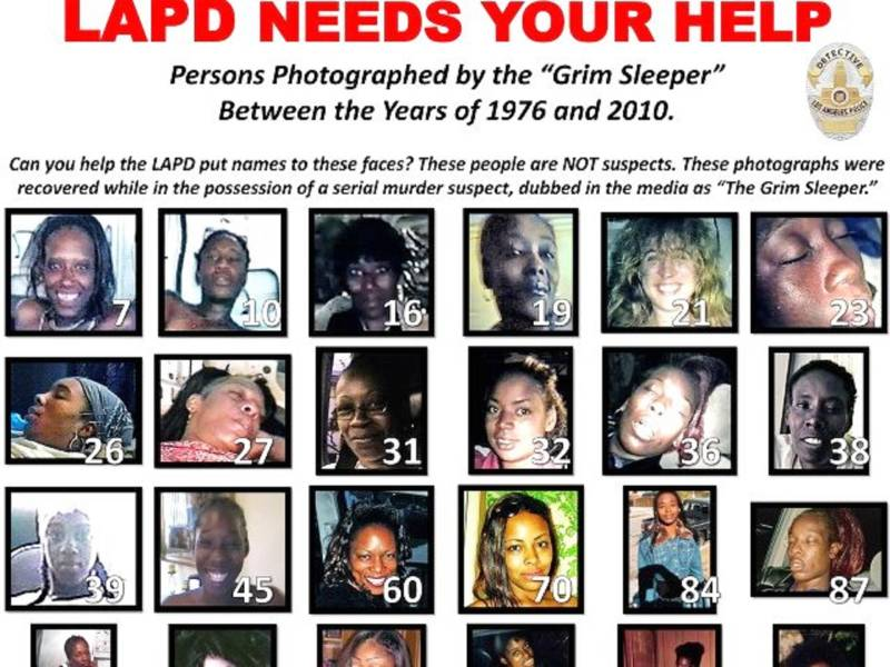 Detail of LAPD poster asking to help identify possible victims of the Grim Sleeper killer.