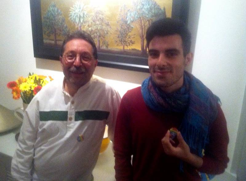 Fred Hertz with Subhi Nahas, at Fred's home.