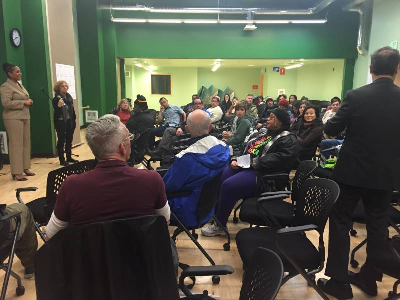 A community meeting to plan the resdesign of St. Andrew's Plaza in West Oakland