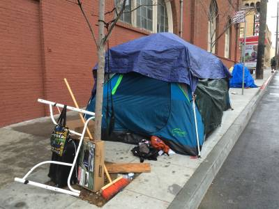Tents on Bryant Street set up after encampments were cleared from nearby Division Street.