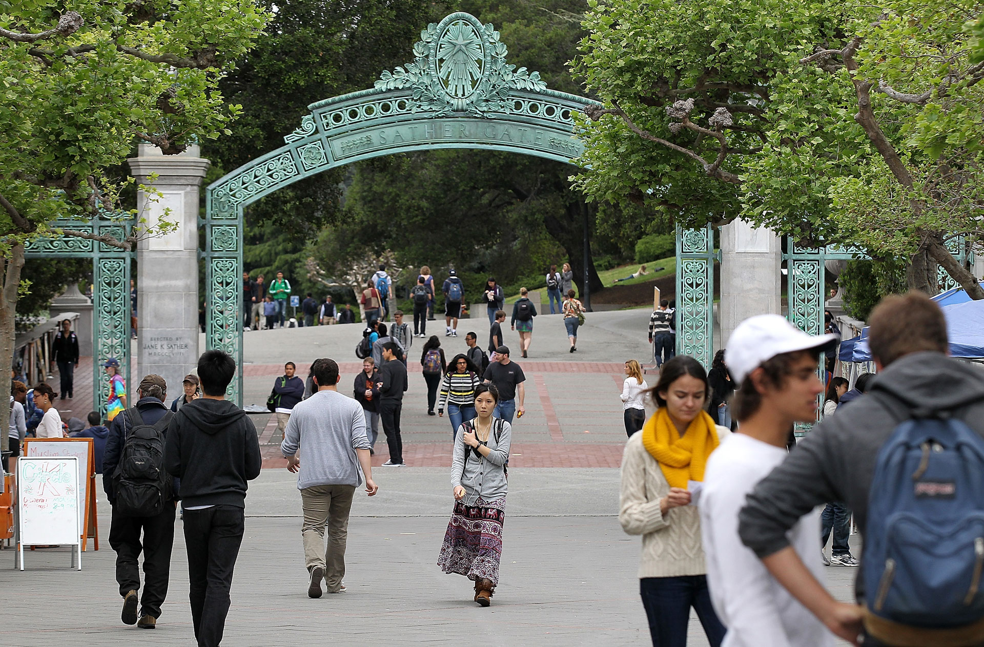 Students walk under Sather Gate on the UC Berkeley campus.