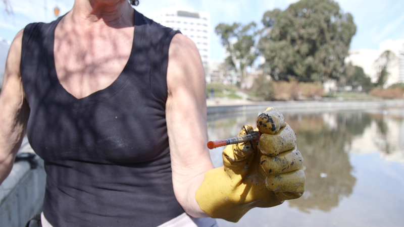 A needle collected by volunteers at Lake Merritt.